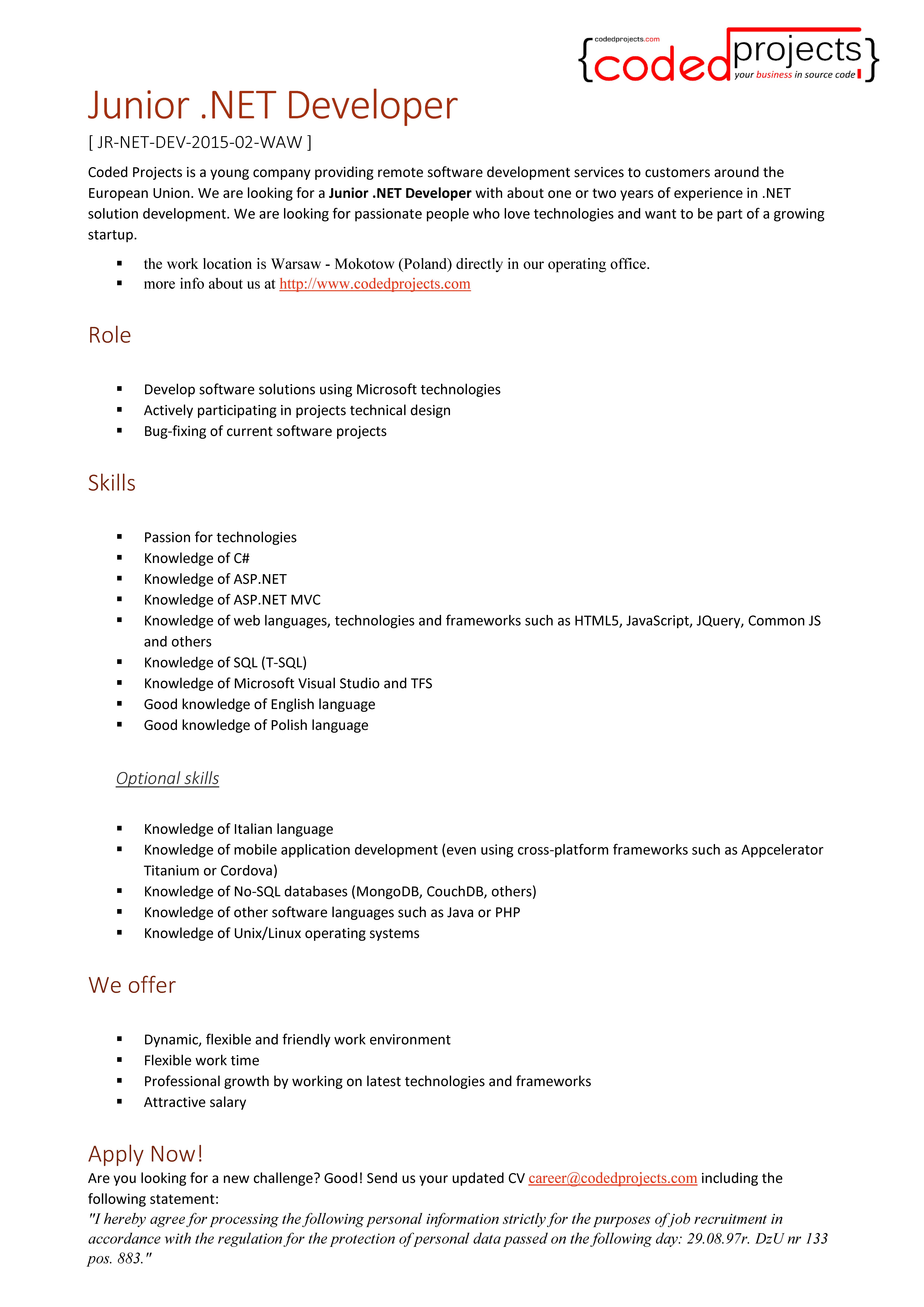 Career - Coded Projects - JR-NET-DEV-2018-03-WAW - Junior